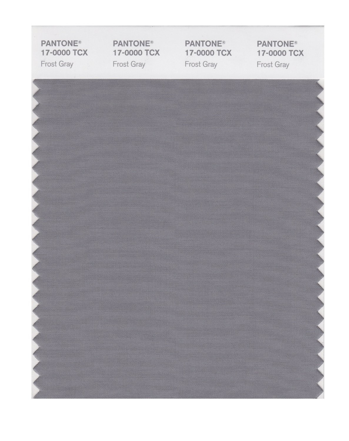Pantone 17-0000 TCX Swatch Card Frost Gray