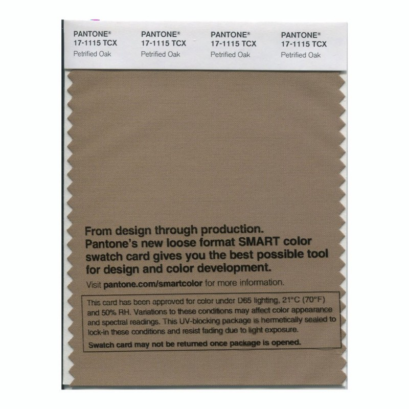 Pantone 17-1115 TCX Swatch Card Petrified Oak