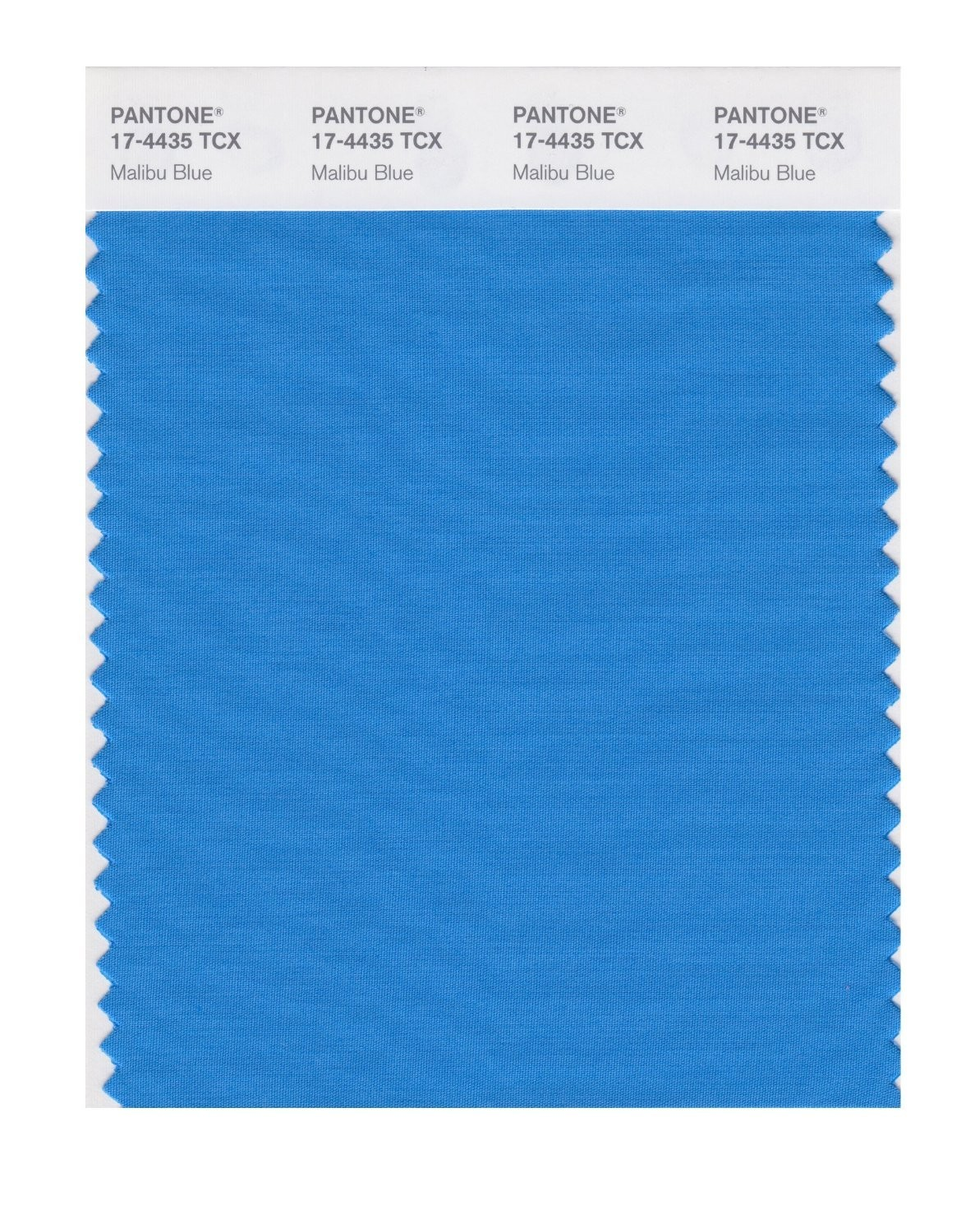 Pantone 17-4435 TCX Swatch Card Malibu Blue