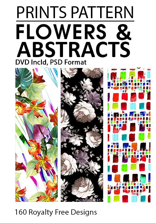Prints Pattern | Flowers & Abstracts Book Incl 2 DVD (Layered Files)