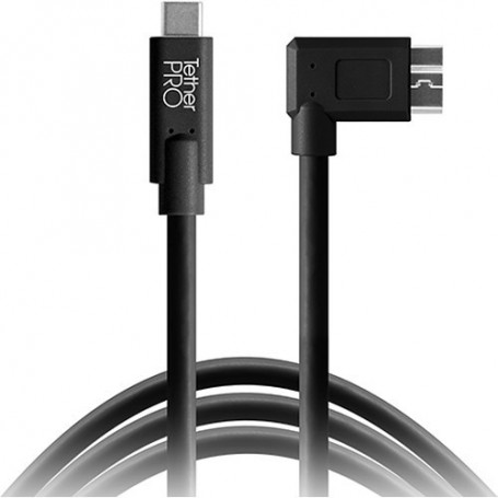 Tether Tools TetherPro USB Type-C Male to Micro-USB 3.0 Type B Male Cable (15ft, Black, Right-Angle) CUC33R15-BLK
