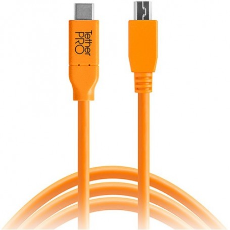 Tether Tools TetherPro USB Type-C Male to 5-Pin Micro-USB 2.0 Type-B Male Cable (15ft, Orange) CUC2515-ORG