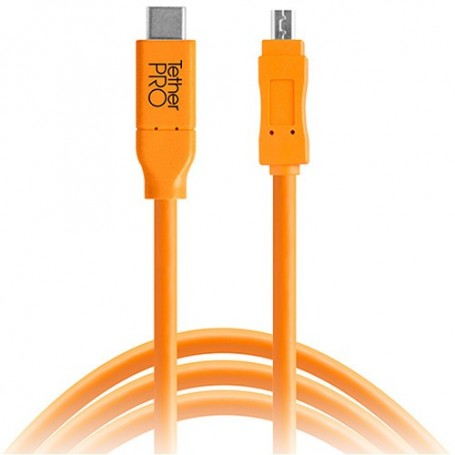 Tether Tools TetherPro USB Type-C Male to 8-Pin Mini-USB 2.0 Type-B Male Cable (15ft, Orange) CUC2615-ORG