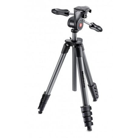 Manfrotto Compact Advanced Aluminium Tripod with 3 Way Head, Black, MKCOMPACTADV-BK