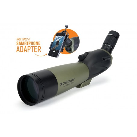Celestron Ultima 80-45 Degree Spotting Scope and Smartphone Adapter Kit Angled Viewing, 52350