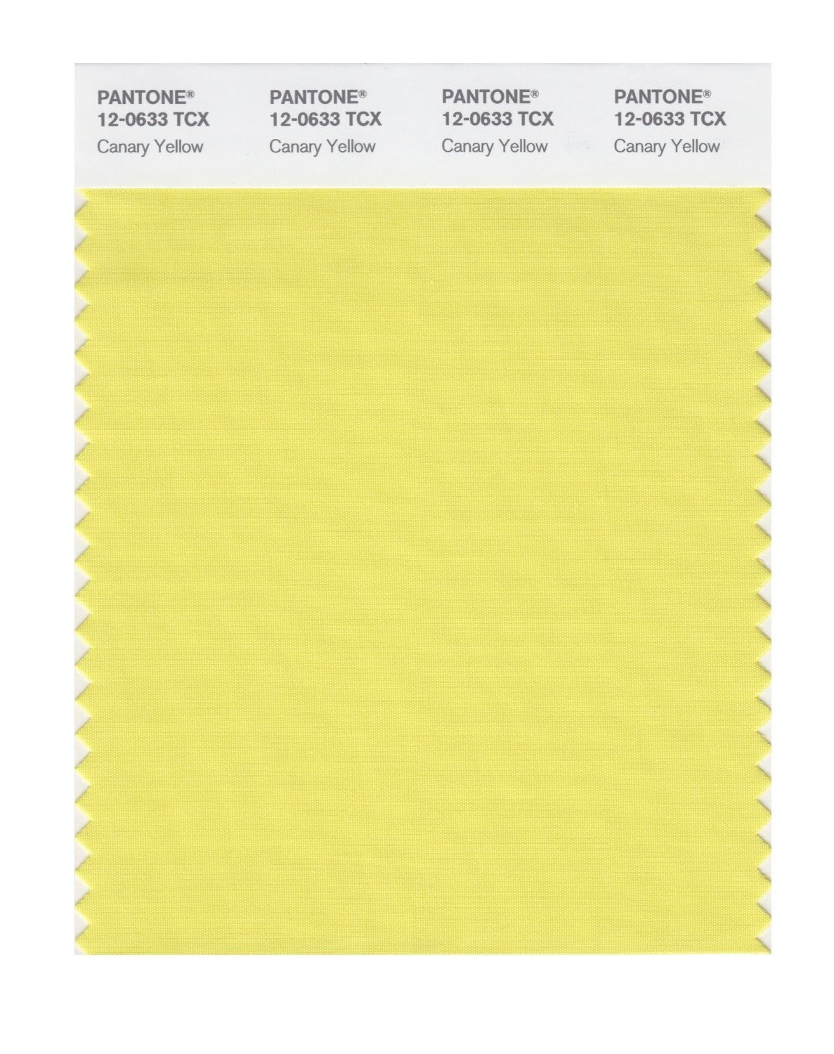 Pantone 12-0633 TCX Swatch Card Canary Yellow