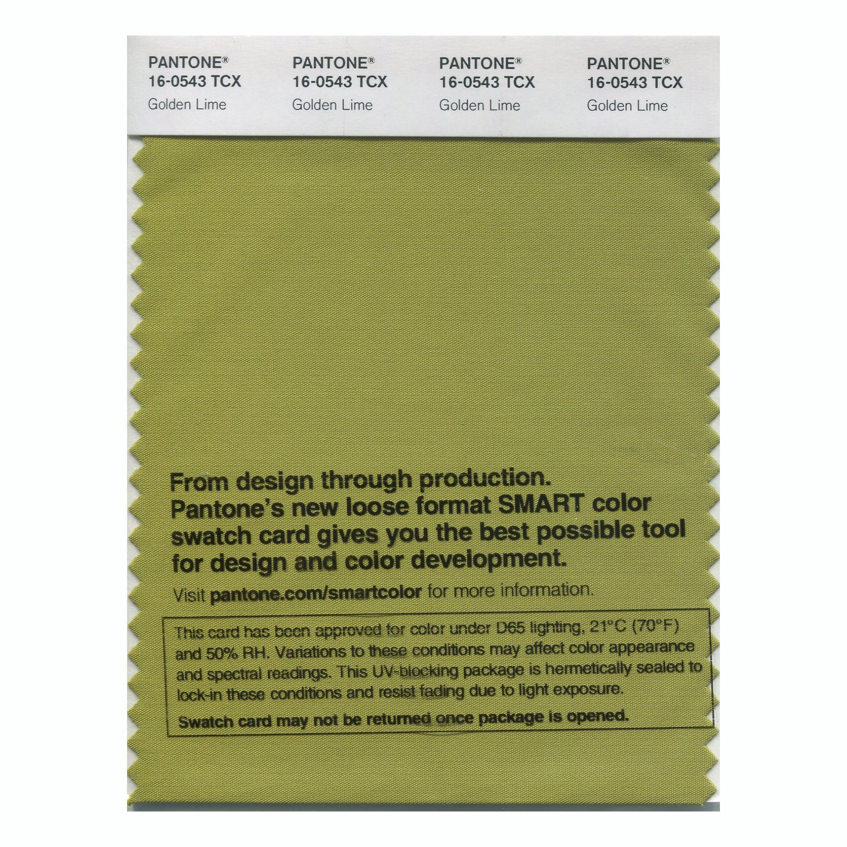 Pantone 16-0543 TCX Swatch Card Golden Lime