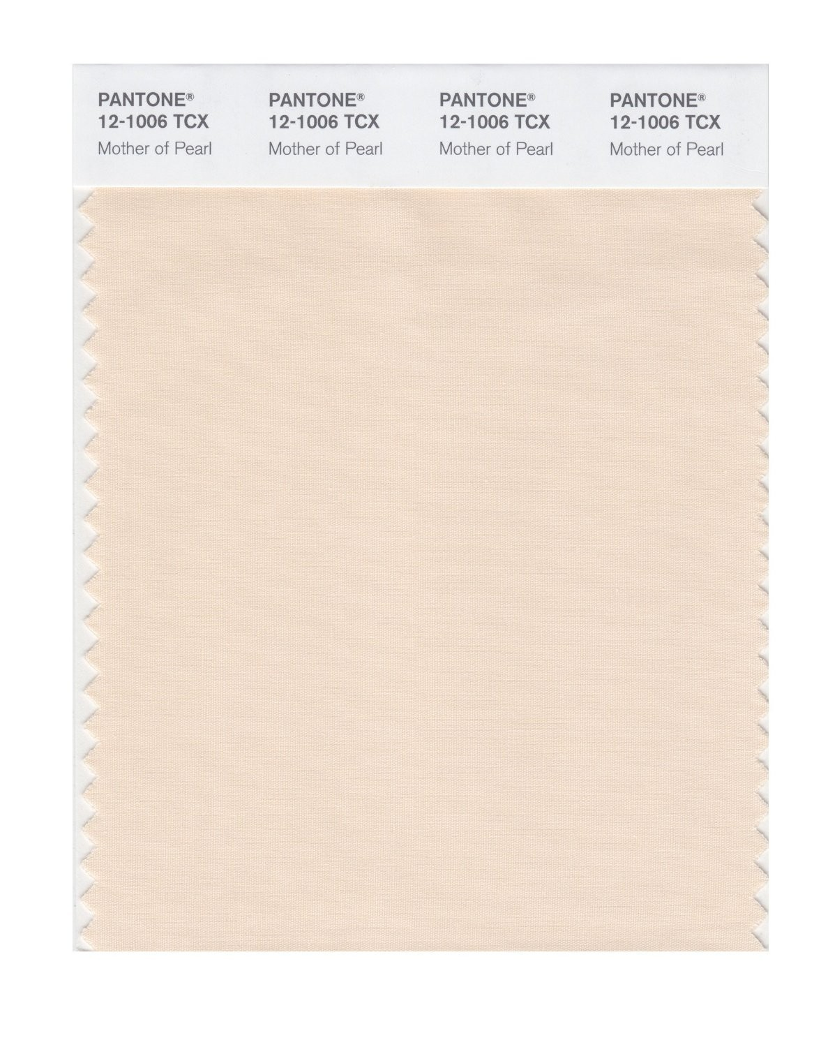 Pantone 12-1006 TCX Swatch Card Mother Of Pearl