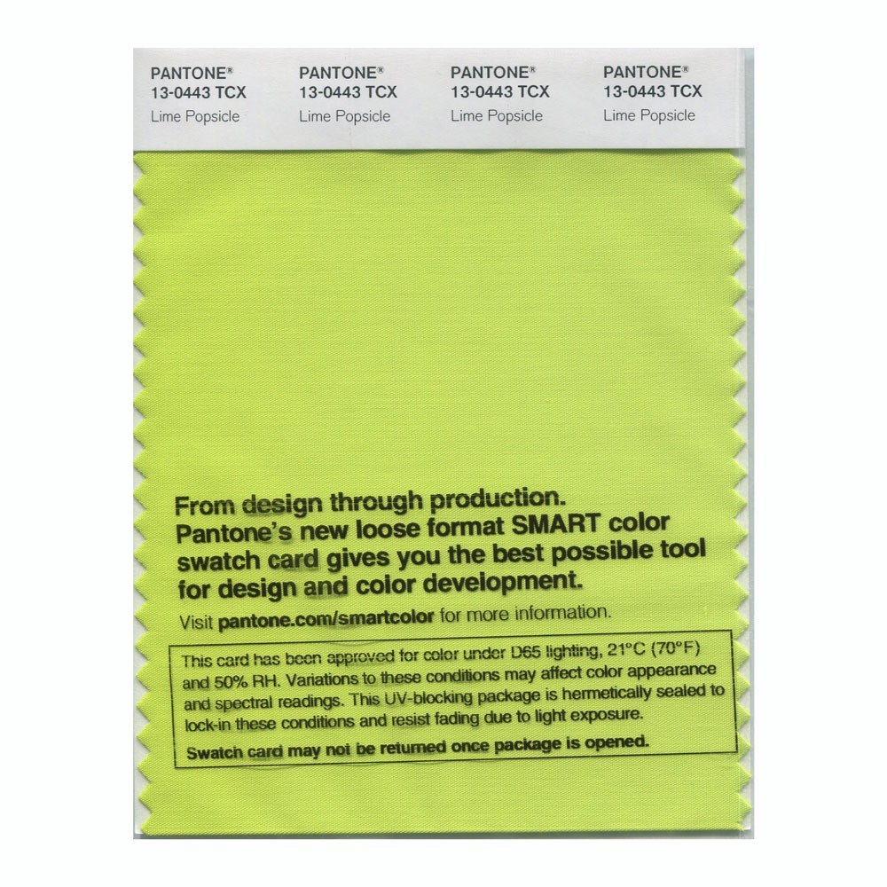 Pantone 13-0443 TCX Swatch Card Lime Popsicle