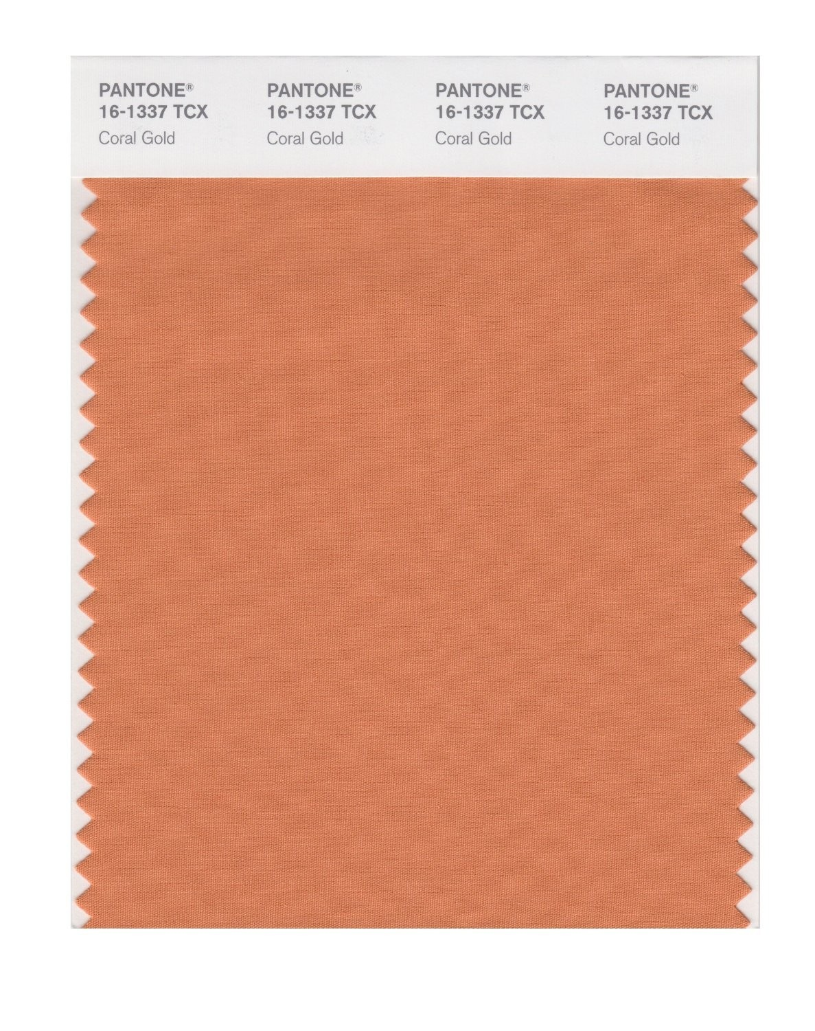 Pantone 16-1337 TCX Swatch Card Coral Gold