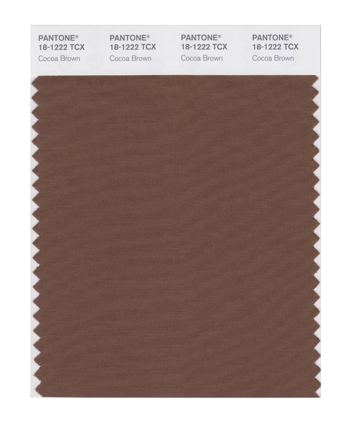 Pantone 18-1222 TCX Swatch Card Cocoa Brown