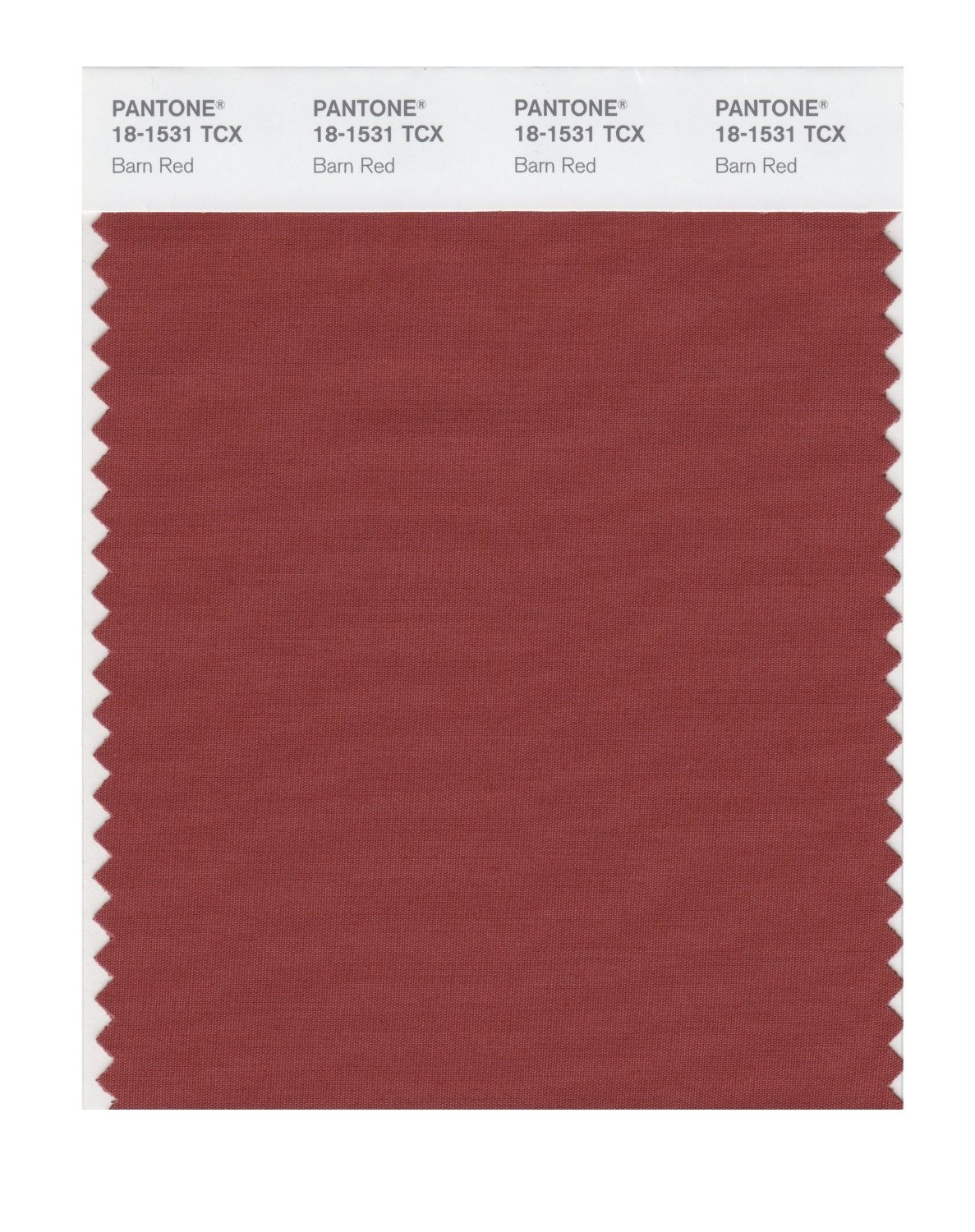 Pantone 18-1531 TCX Swatch Card Barn Red