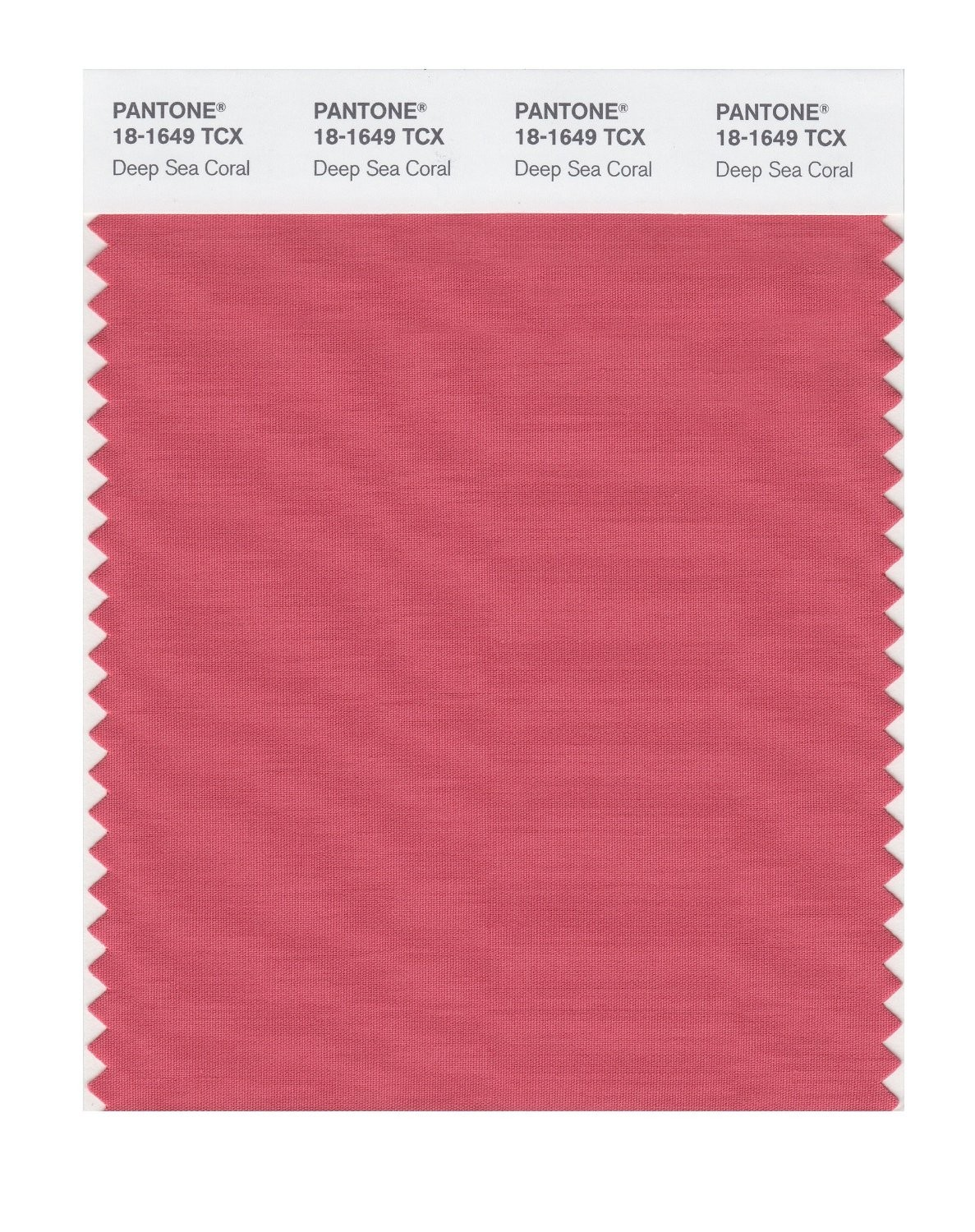 Pantone 18-1649 TCX Swatch Card Deep Sea Coral