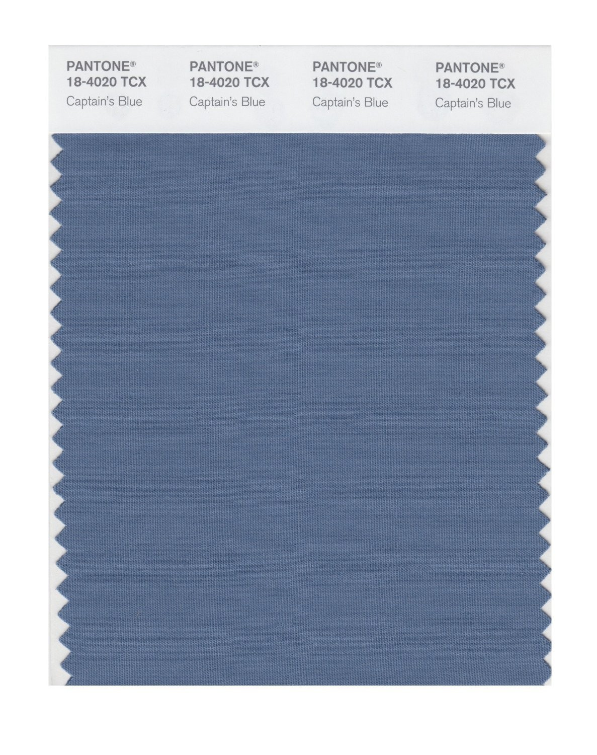 Pantone 18-4020 TCX Swatch Card Captains Blue