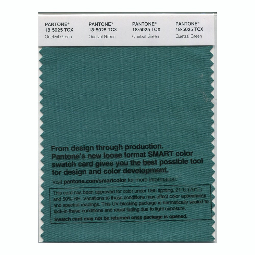 Pantone 18-5025 TCX Swatch Card Quetzal Green