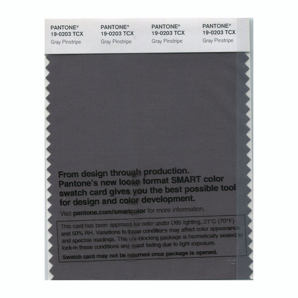 Pantone 19-0203 TCX Swatch Card Gray Pinstripe