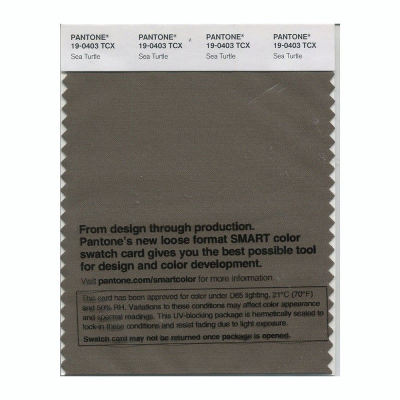 Pantone 19-0403TCX Swatch Card Sea Turtle