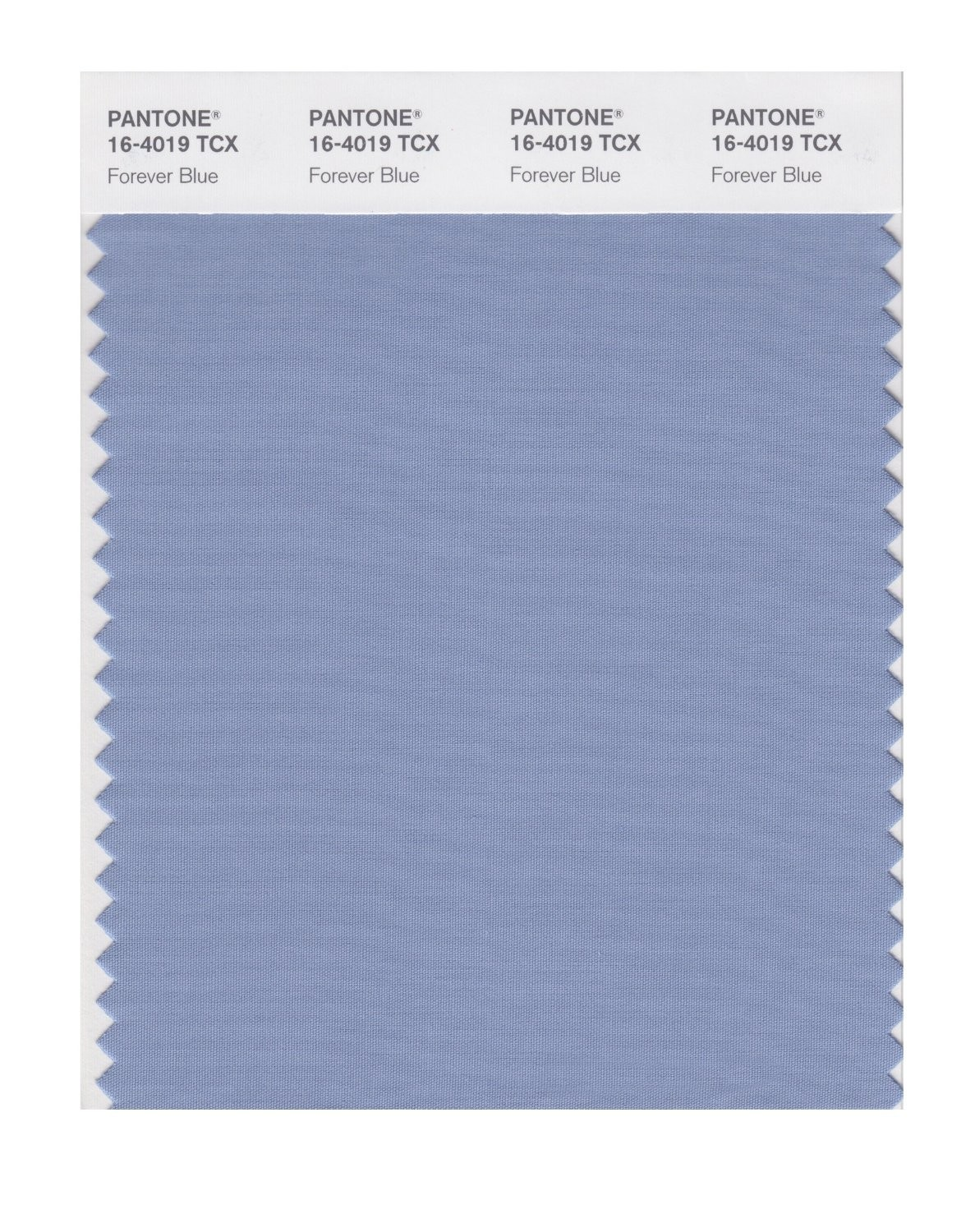 Pantone 16-4019 TCX Swatch Card Forever Blue