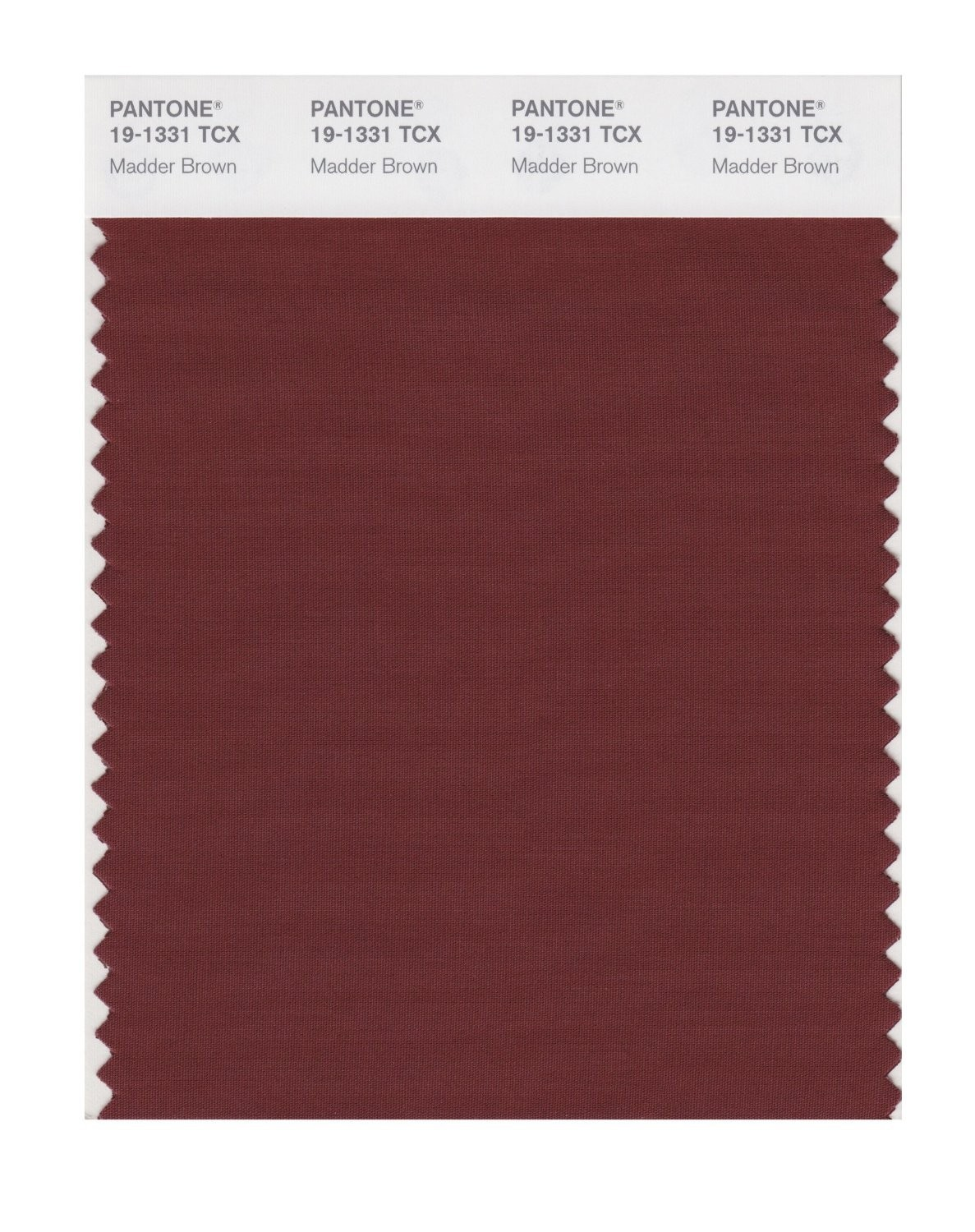 Pantone 19-1331 TCX Swatch Card Madder Brown