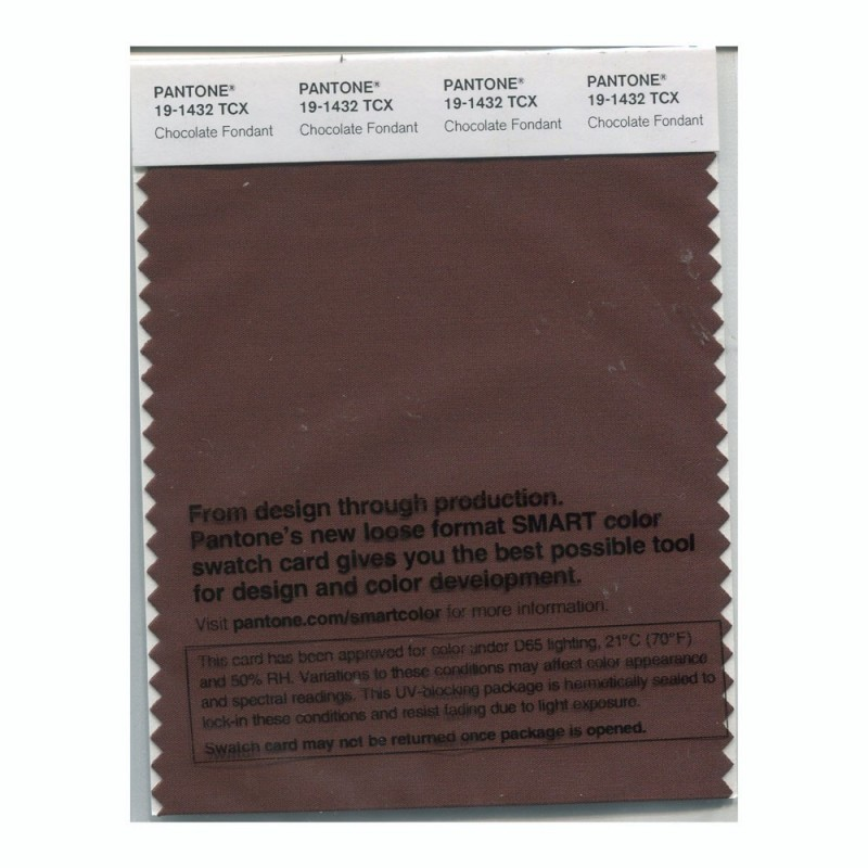 Pantone 19-1432 TCX Swatch Card Chocolate Fondan
