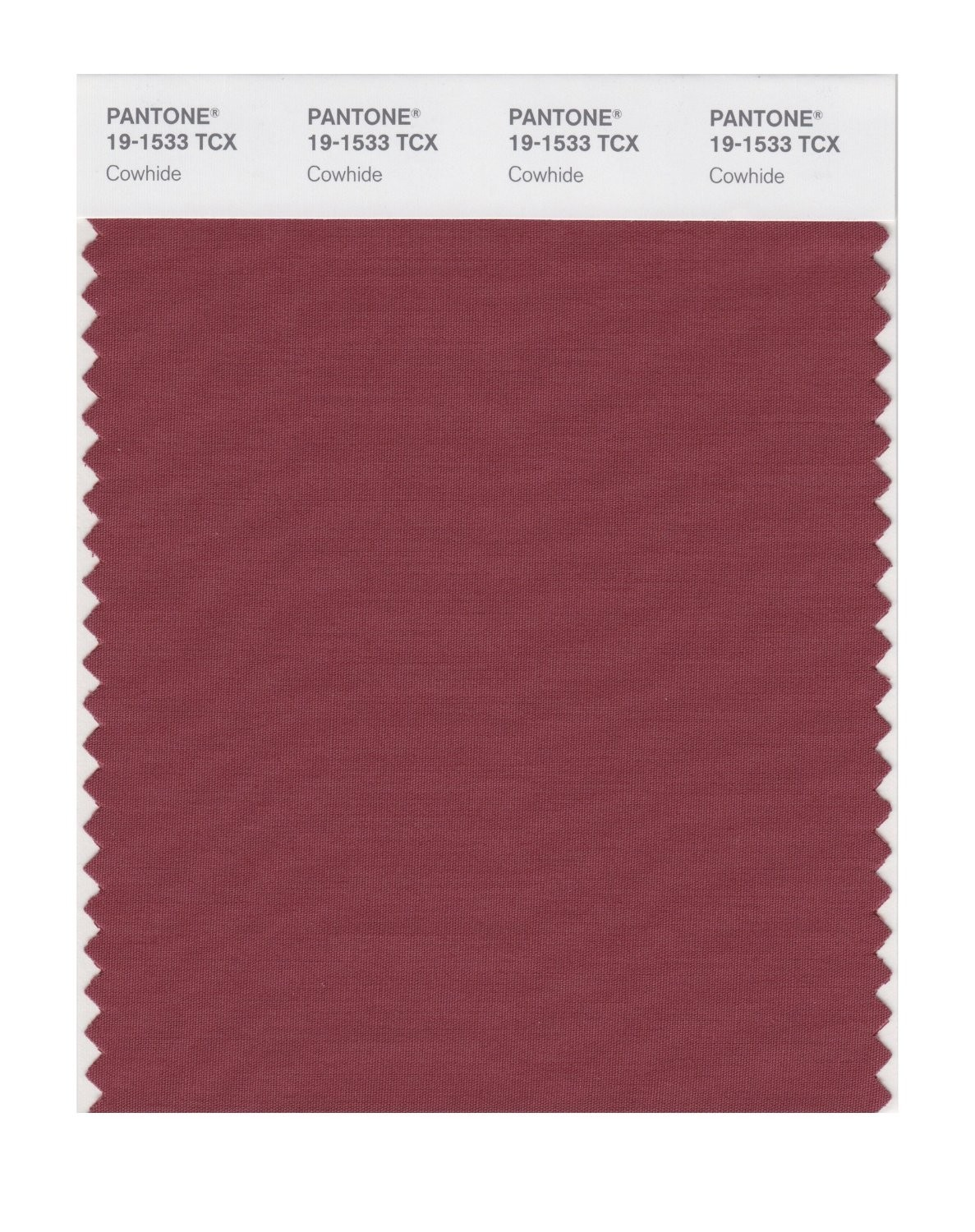 Pantone 19-1533 TCX Swatch Card Cowhide