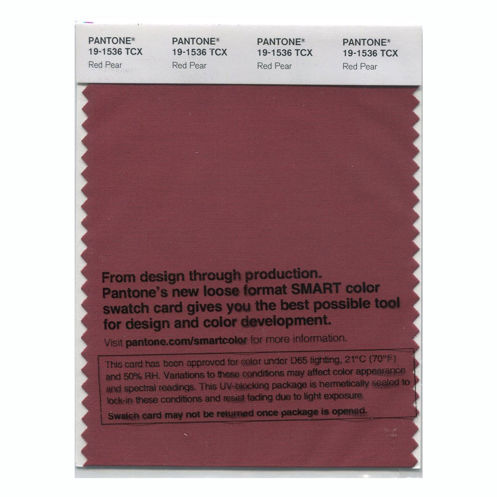 Pantone 19-1536 TCX Swatch Card Red Pear
