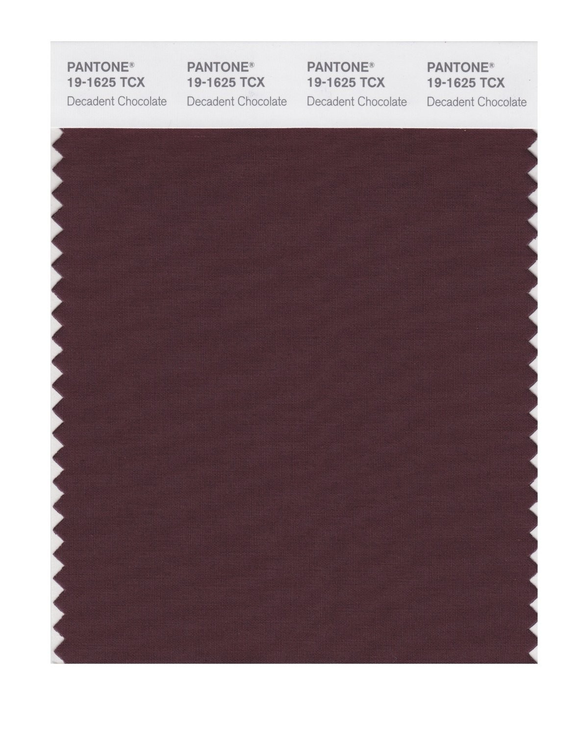 Pantone 19-1625 TCX Swatch Card Decadnt Chocolat