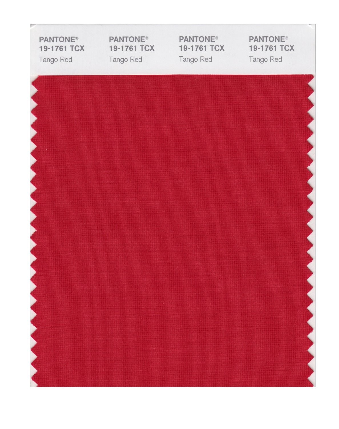 Pantone 19-1761 TCX Swatch Card Tango Red