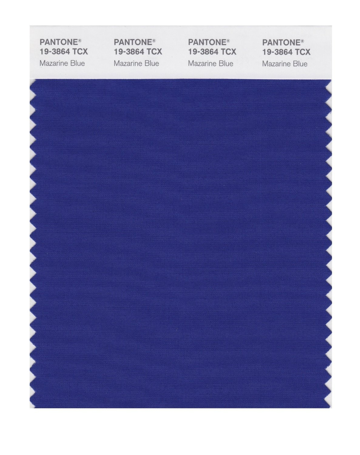 Pantone 19-3864 TCX Swatch Card Mazarine Blue