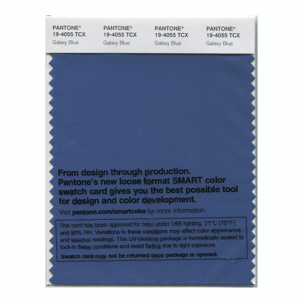 Pantone 19-4055 TCX Swatch Card Galaxy Blue