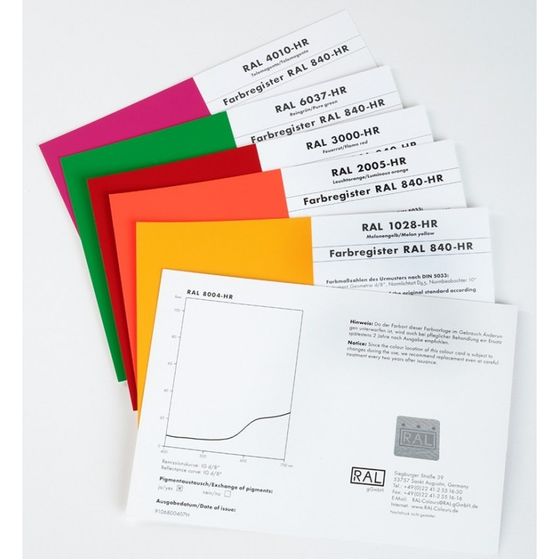 RAL 840-HR Single Cards (Classic Colours Pages) A5 Size