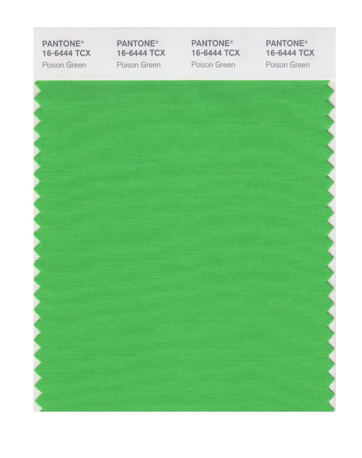Pantone 16-6444 TCX Swatch Card Poison Green