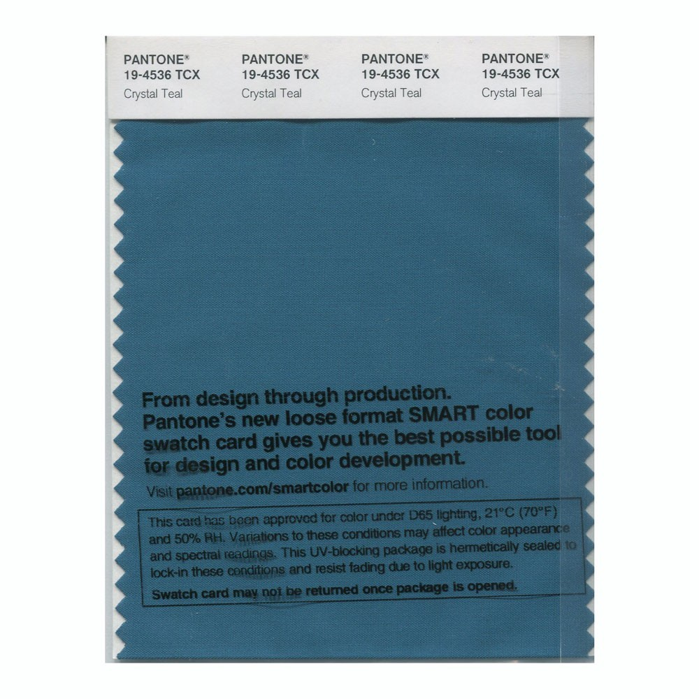 Pantone 19-4536 TCX Swatch Card Crystal Teal