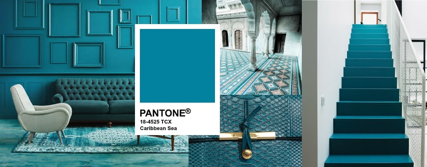 pantone sea blue carribean color range